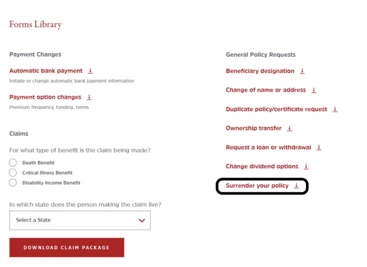 Assurity website Forms Surrender Request