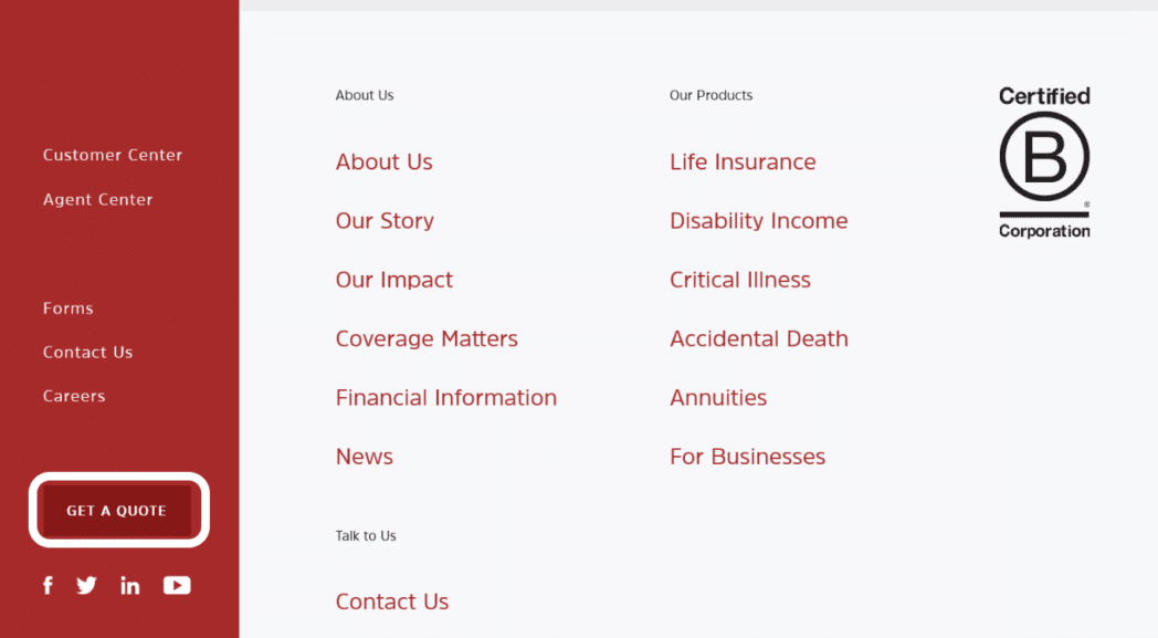 Assurity website home page Get a Quote button in footer