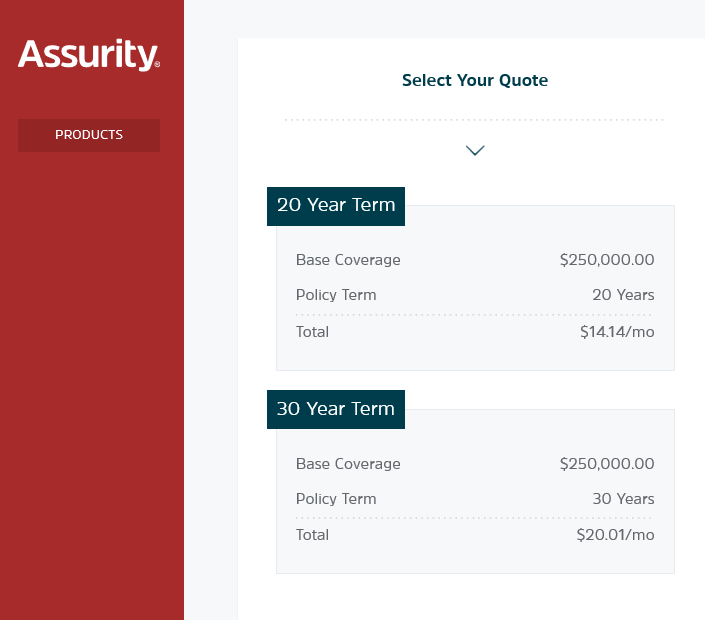 Assurity website select policy quote screen