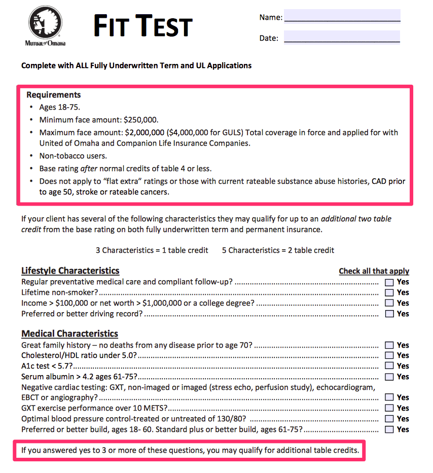 mutual of omaha fit test