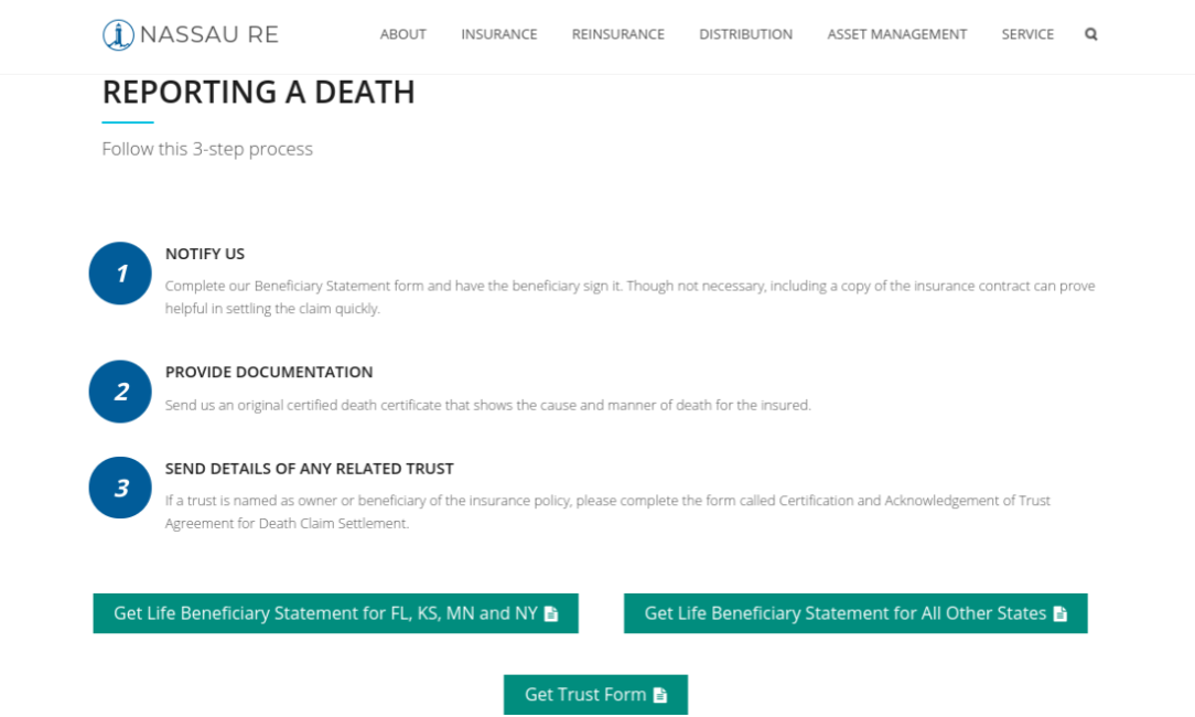Nassau Re Life Insurance Website Reporting a Death 3-Step Process