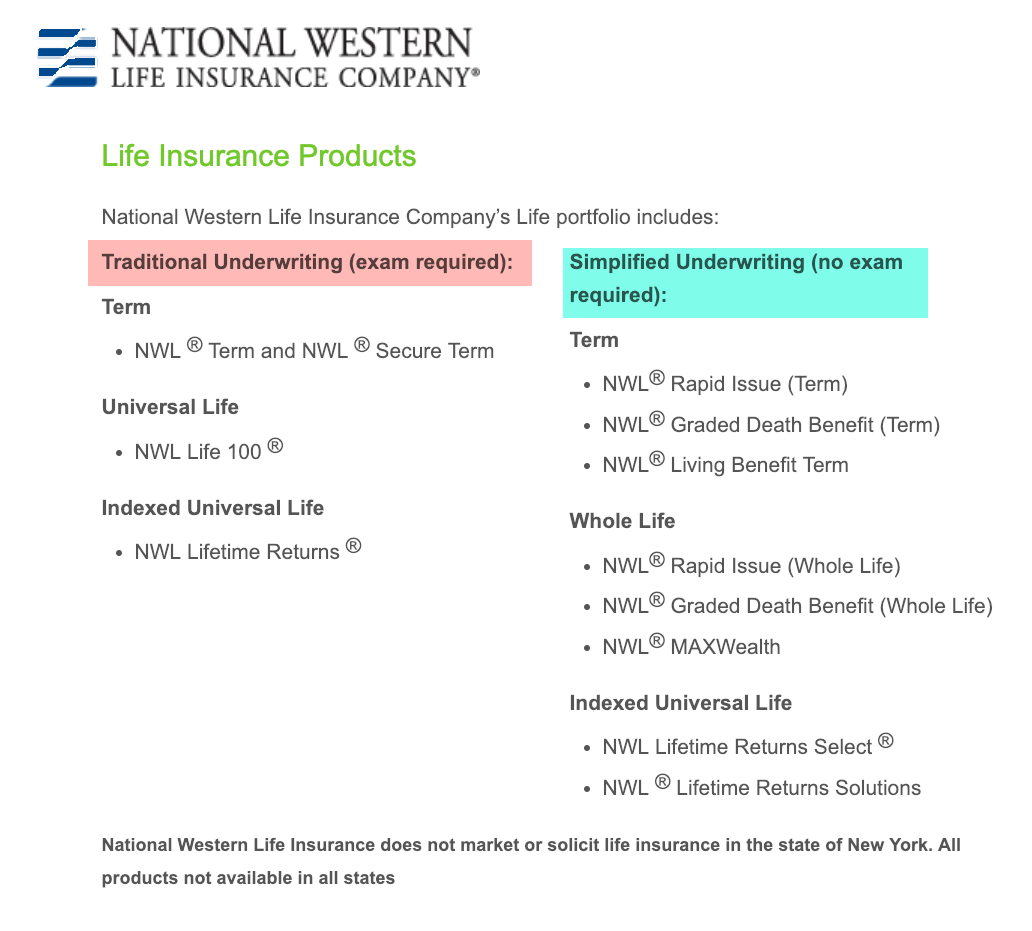national western life insurance products