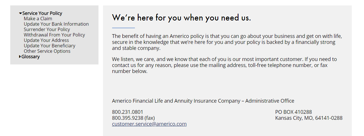 Americo Service your Policy Page