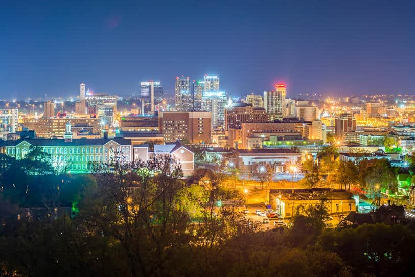 Aerial view of Birmingham, Alabama at night