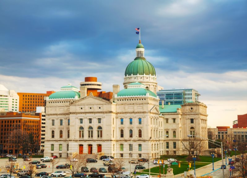 Indiana state capitol building in Indianapolis