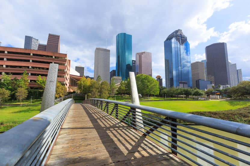 pedestrian bridge leading to the city in Houston, Texas