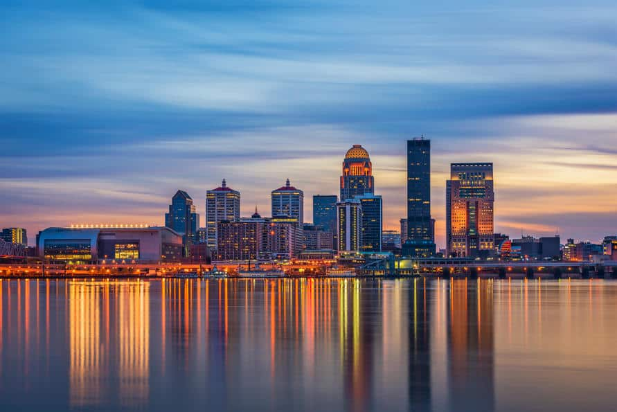 reflections on water by the city in Louisville, Kentucky