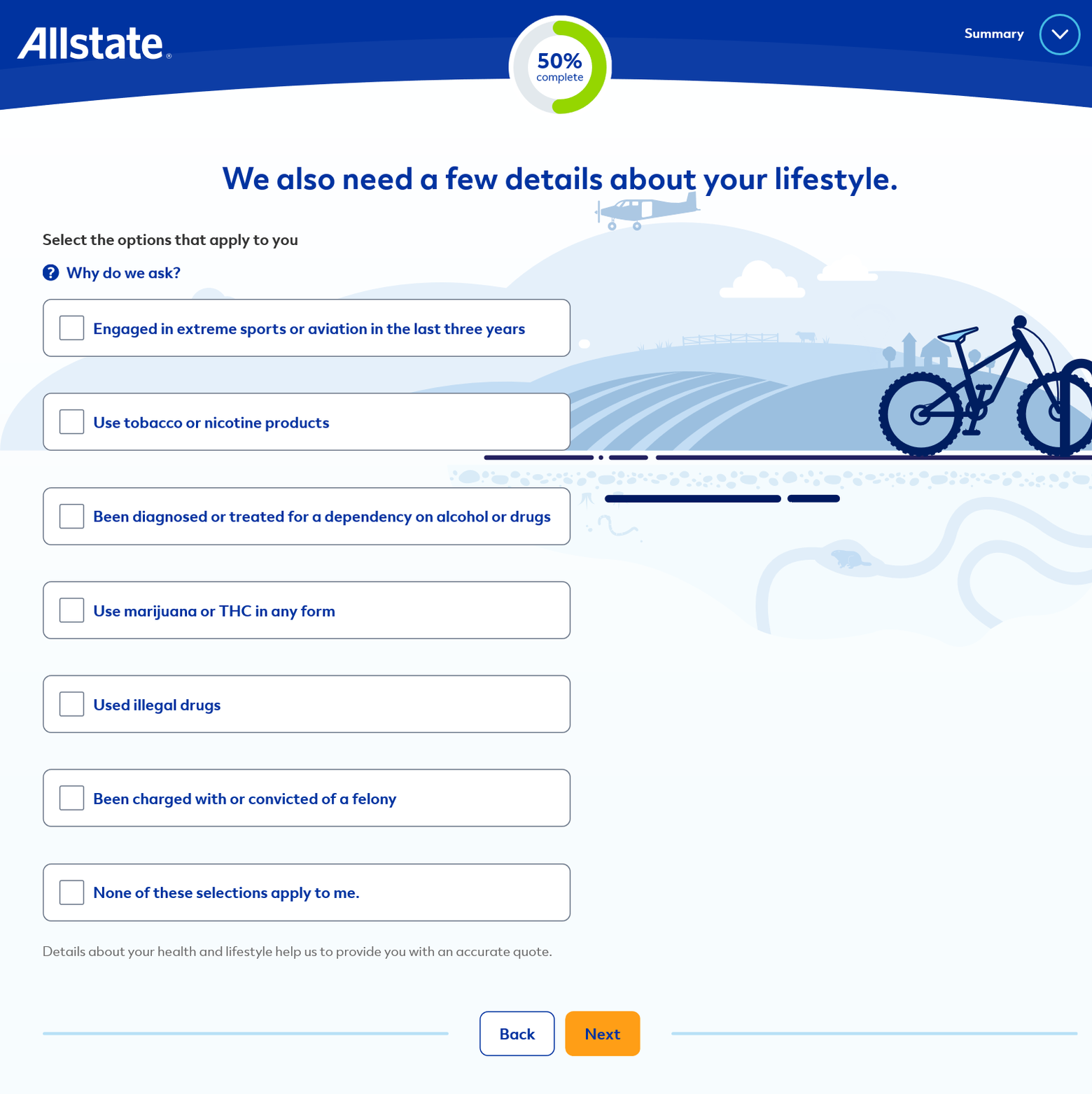 Allstate Get a Quote Lifestyle Questions