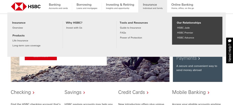 HSBC website homepage with menu