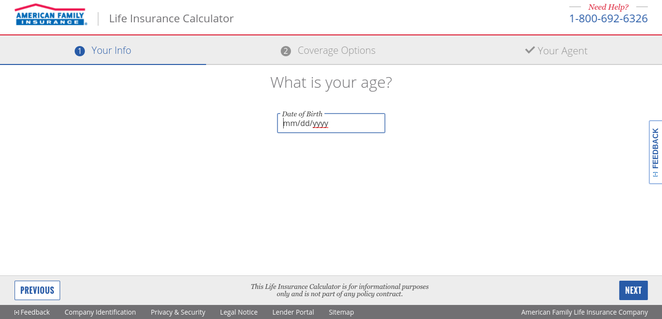 Life 保险 Calculator Sample Screen - American Family