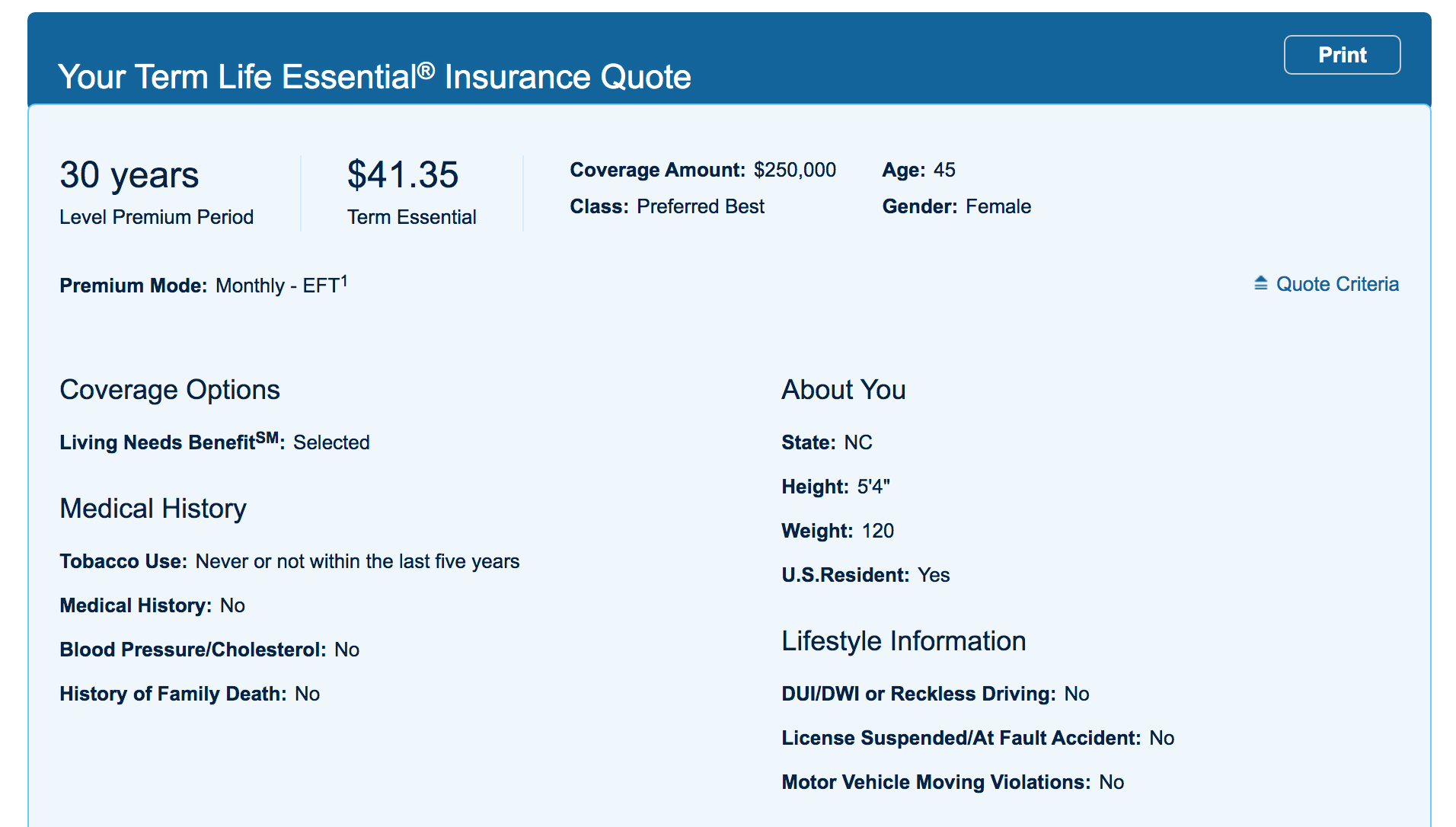 Prudential website Find a Life Insurance Policy page insurance quote results