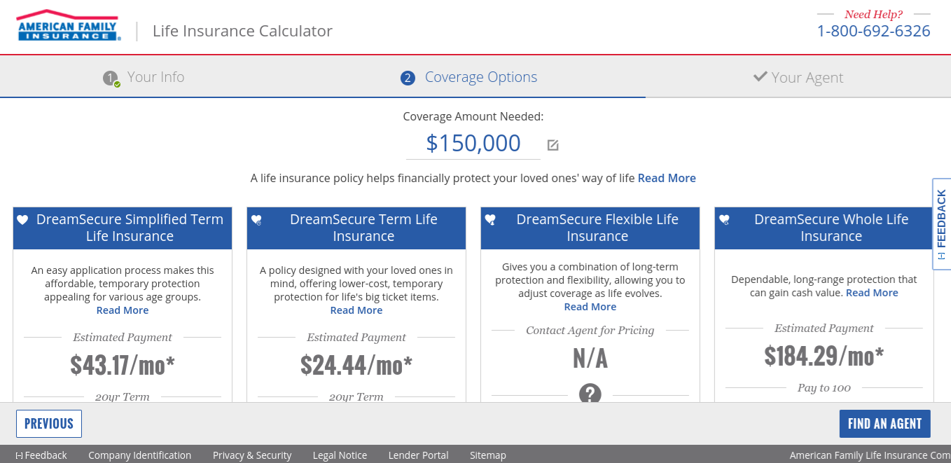 Life Insurance Quote Screen - American Family