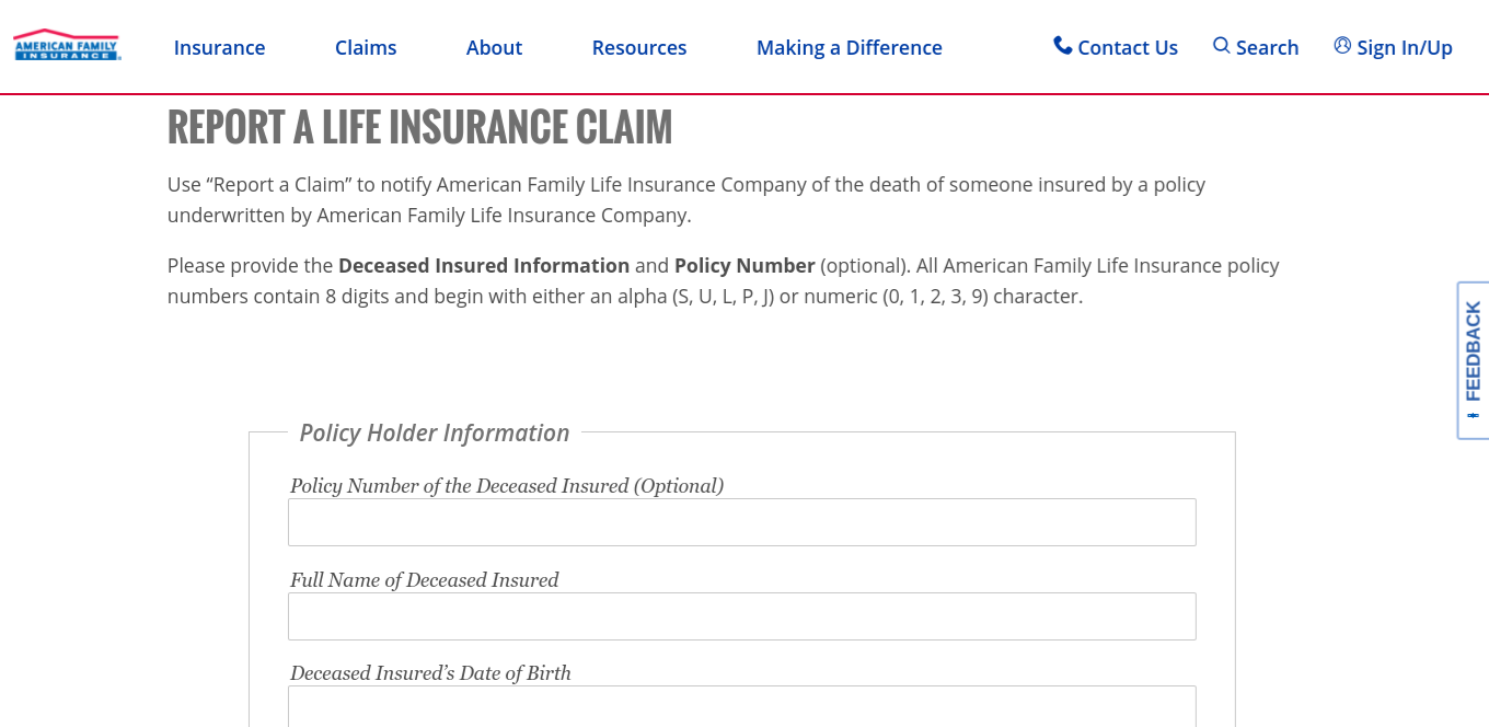 Screenshot of the Life Insurance Online Claim Form (American Family)