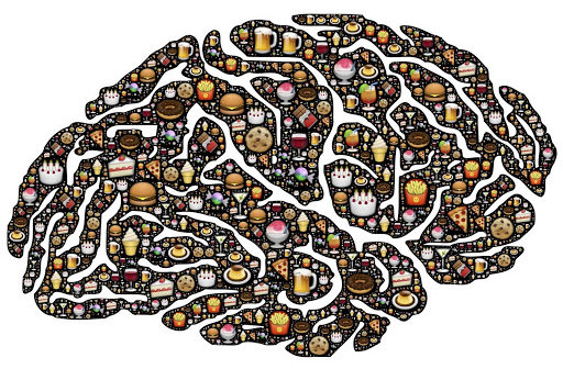visual drawing of brain with sweets included