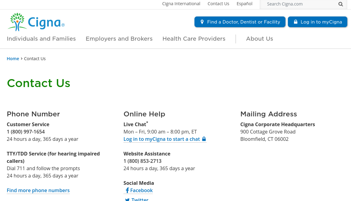 Screenshot of Cigna's contact page