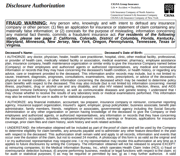 Cigna Disclosure Authorization Form