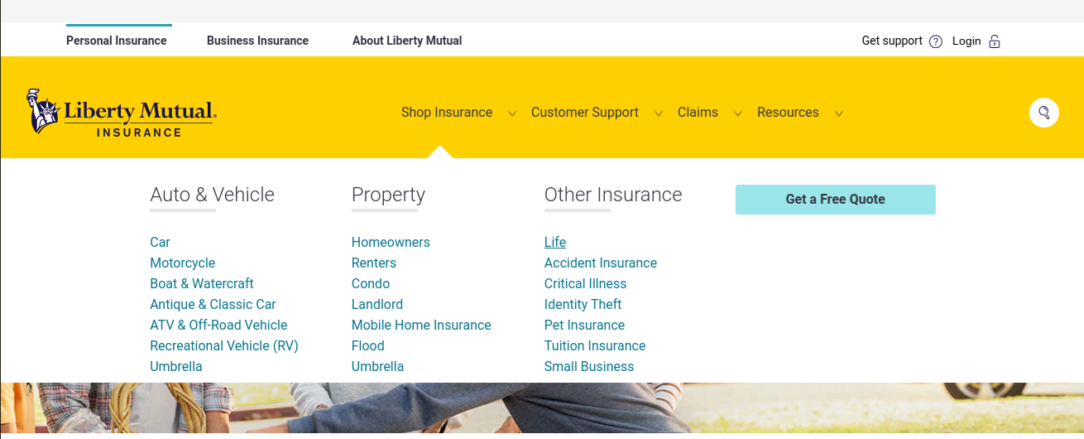Liberty Mutual Life Insurance website Shop Insurance page
