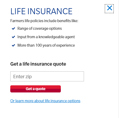 Farmers website life insurance quote tool