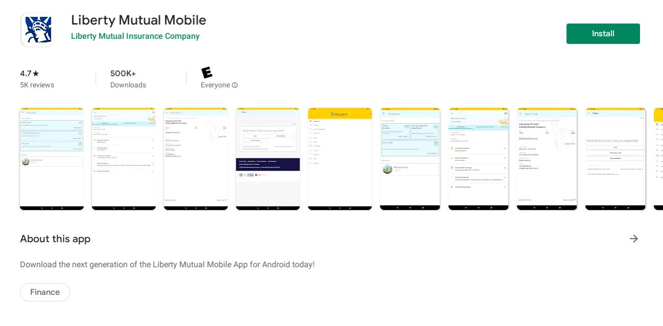 Liberty Mutual Life Insurance app screenshots in Google Play