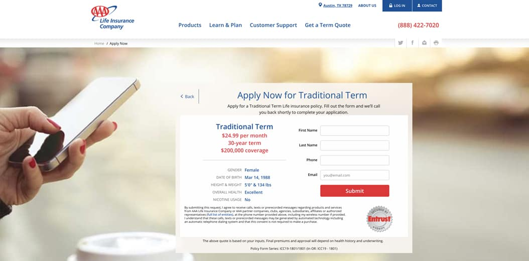 AAA Traditional Term Life Insurance Application Personal Information