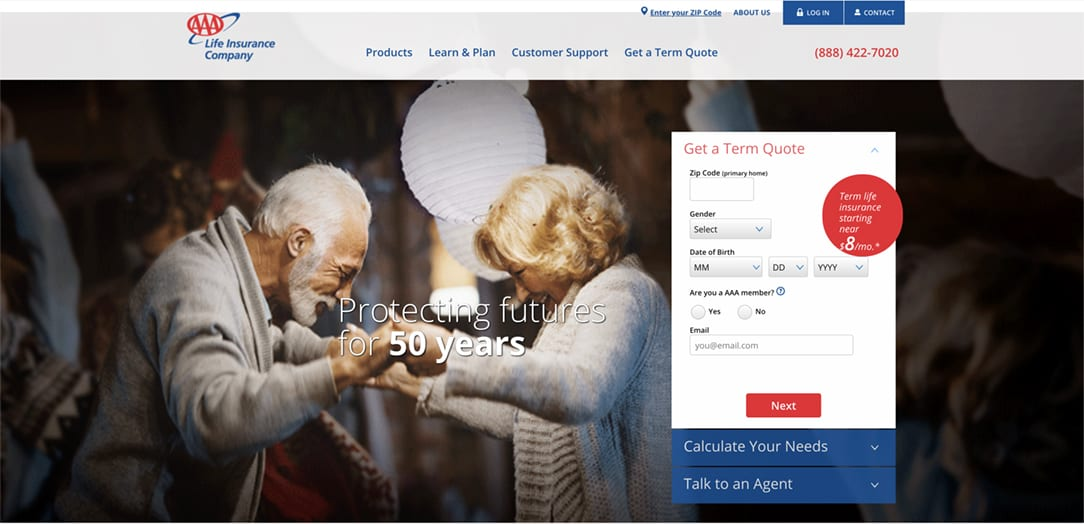 AAA Life Insurance Quote Home Page