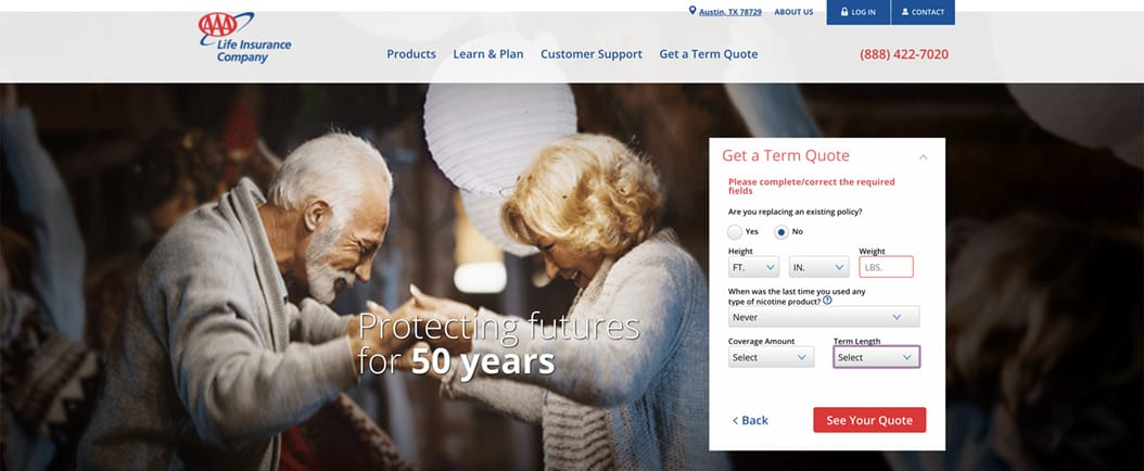 AAA Life Insurance Quote Personal Information