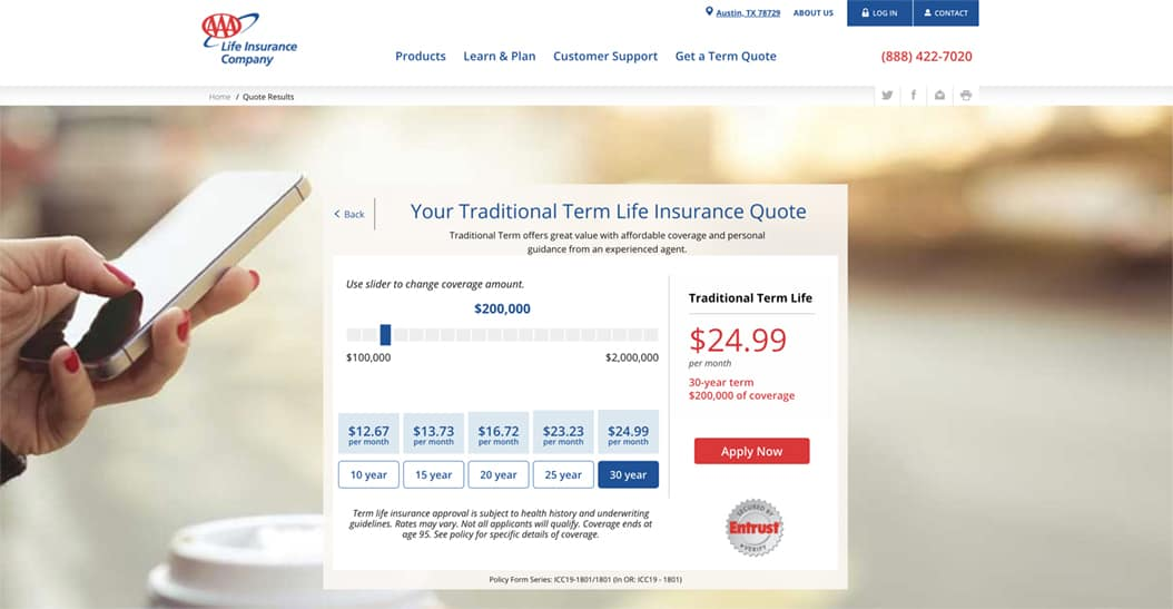 AAA Life Insurance Traditional Term Life Quote