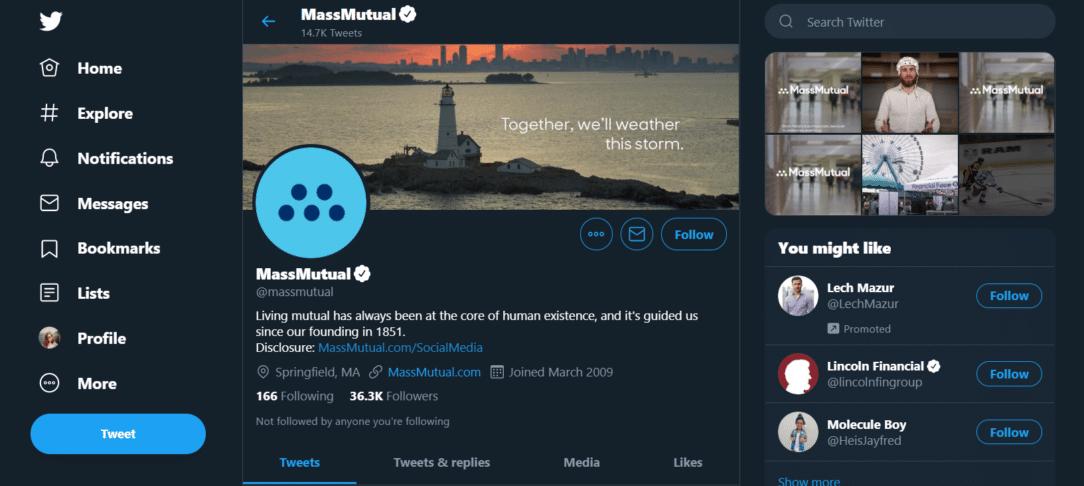 MassMutual Life Insurance Twitter page