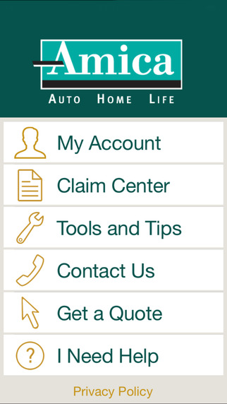 Amica Mobile App Home Screen