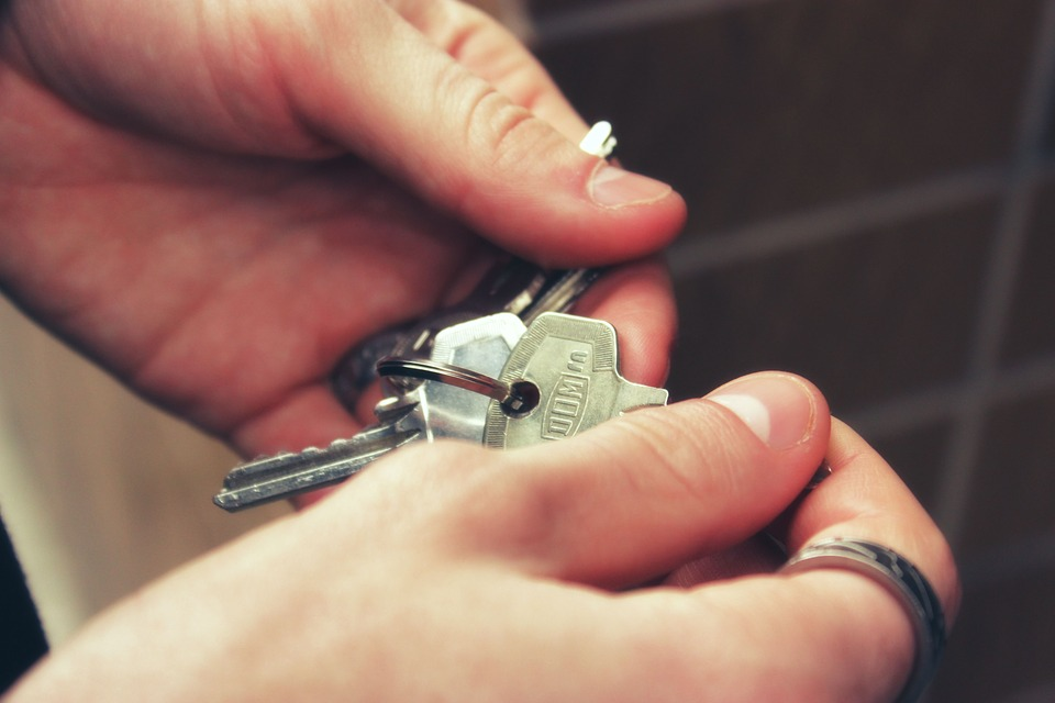 A close up of a hand holding a set of keys.