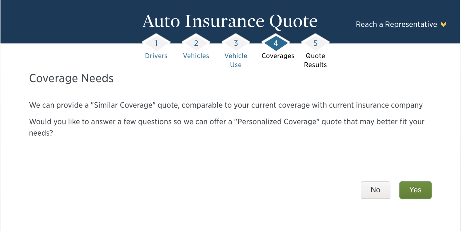 Coverage needs for getting usaa quote