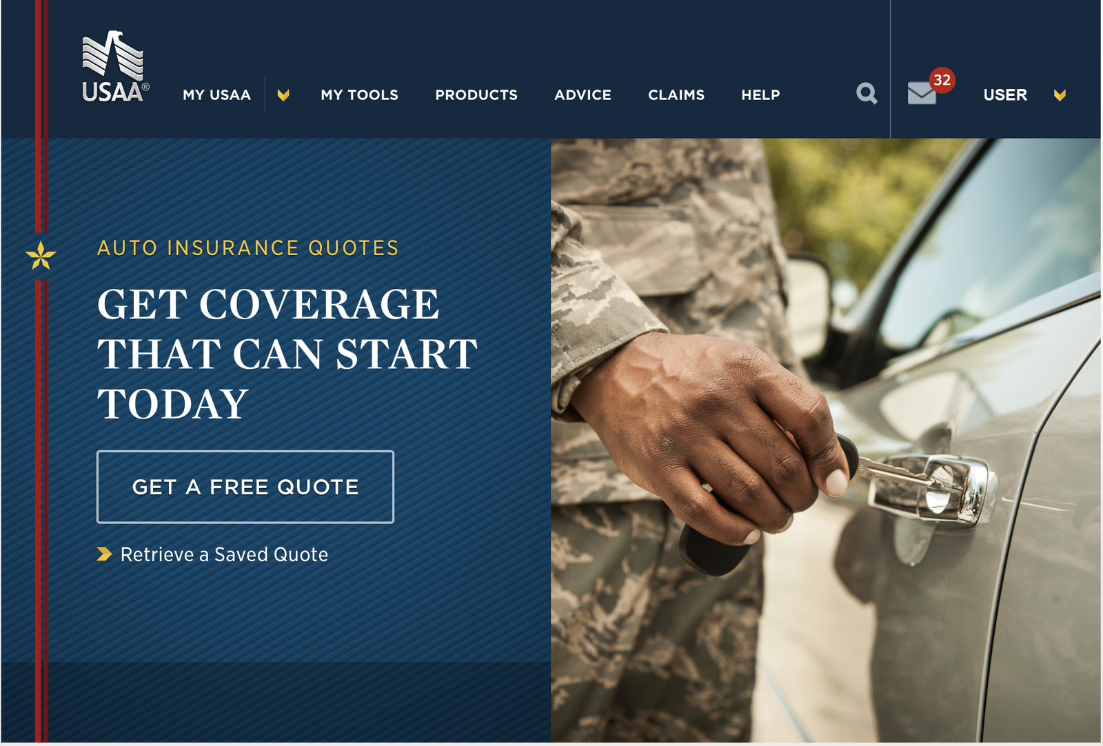 USAA quote first step