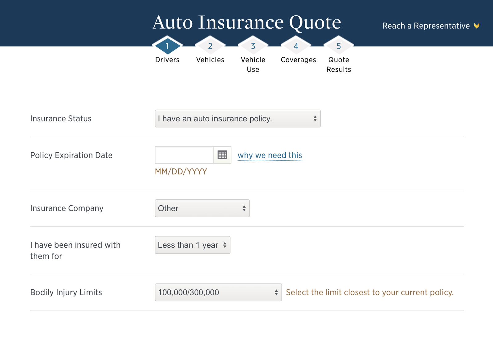 Steps for getting a USAA quote