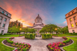 Olympia, Washington, USA state capitol building at dusk.