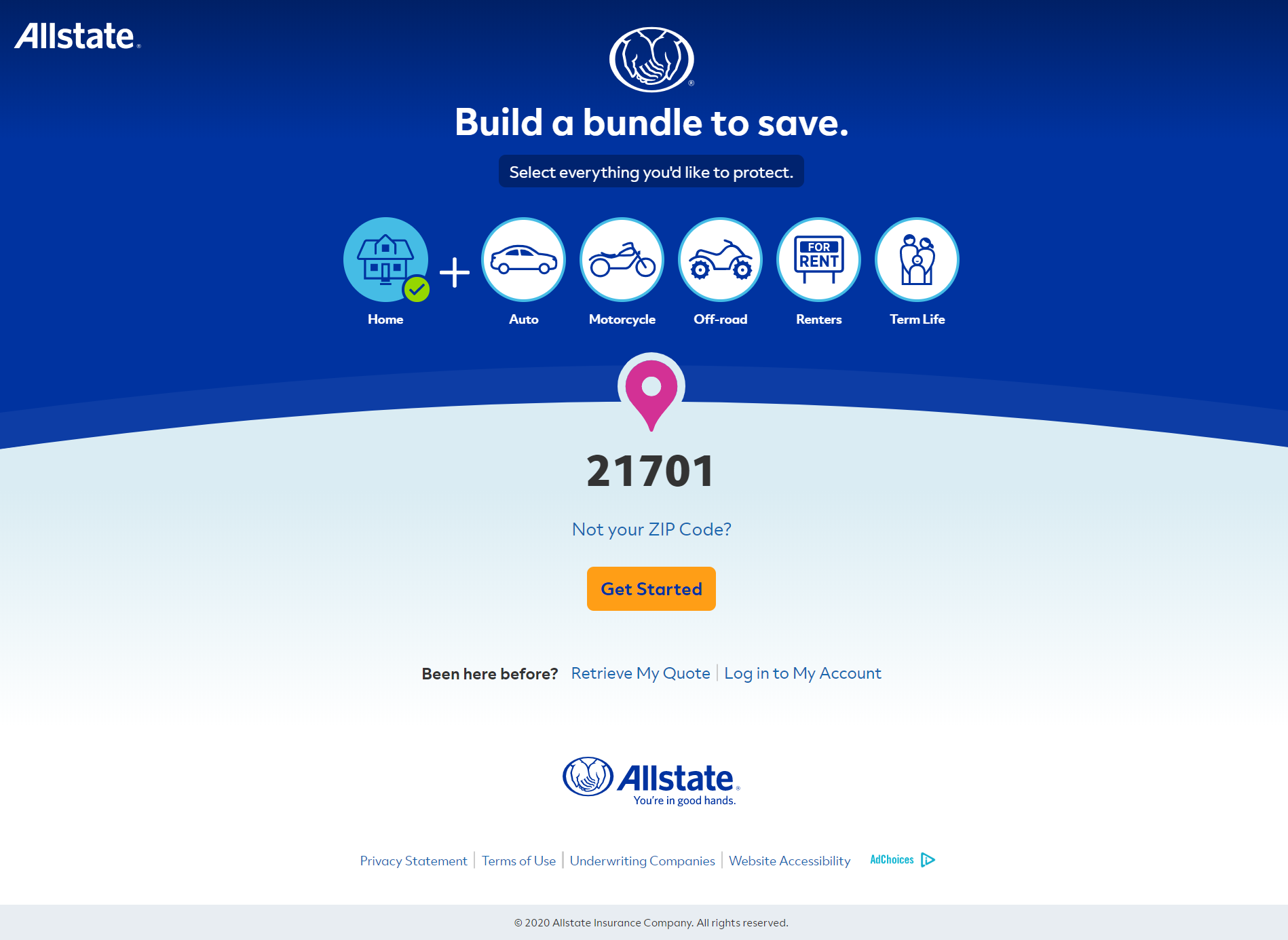 Allstate Home Insurance Getting Started Online Quote Visual