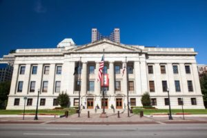 Street view of Ohio State Capitol Building in Columbus on sunny day with flags and blue skies