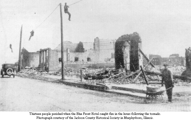 Thirteen people perished when the Blue Front Hotel [Murphysboro, Illinois] caught fire in the hours following the tornado.