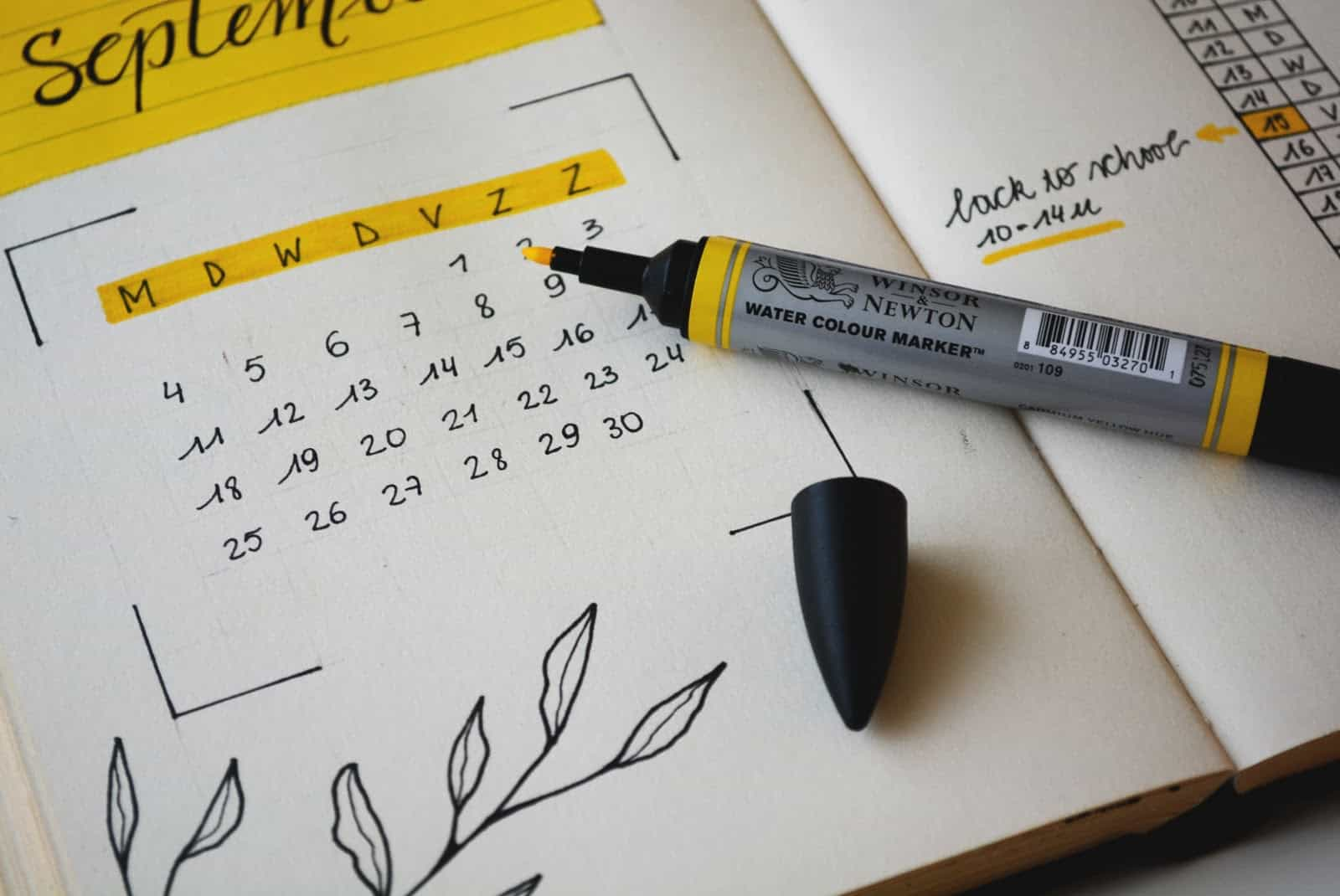calendar highlighting with yellow highlighter, black cap, leaves, white paper