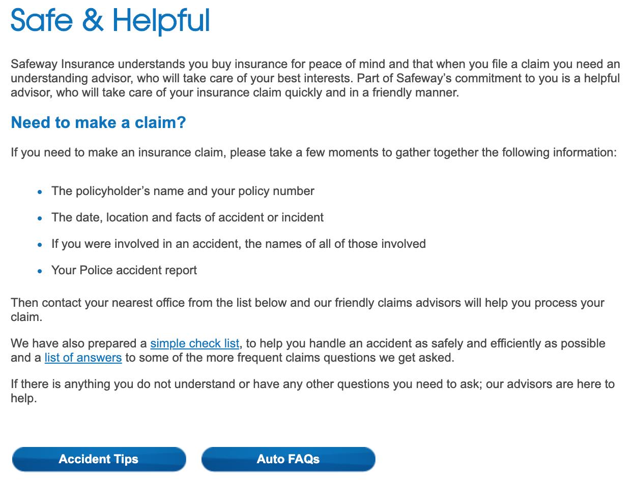 Safeway Insurance Website Claim Tips