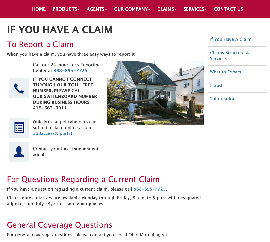 Ohio Mutual Insurance Filing a Claim