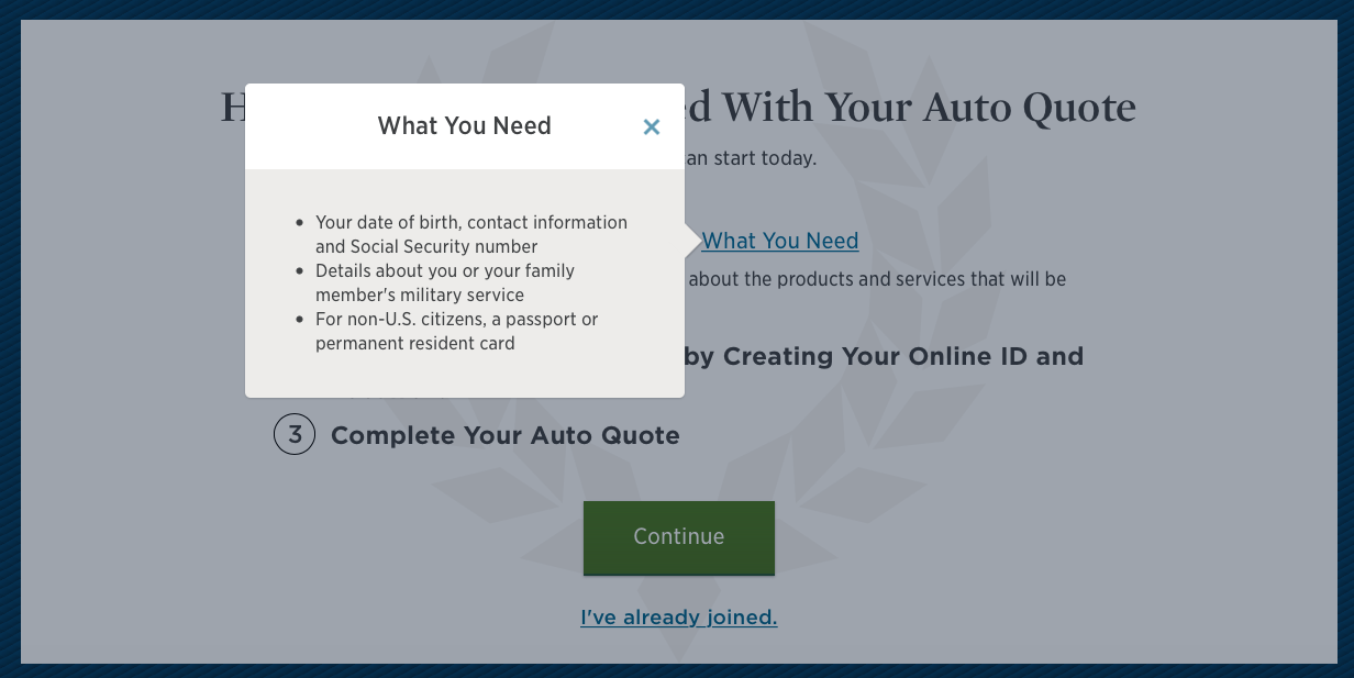 usaa what you need for your auto quote