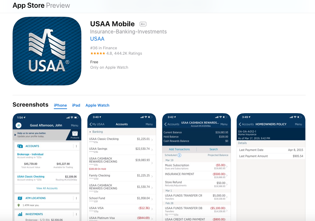 usaa mobile app on the app store