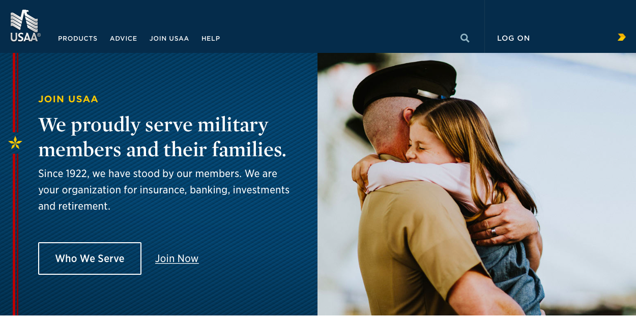 usaa top of home page