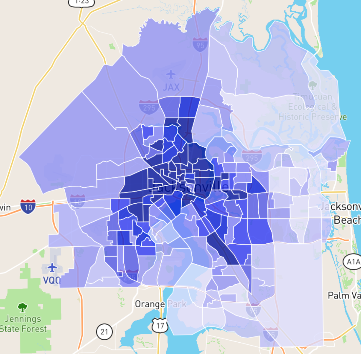 Map of crime in Jacksonville