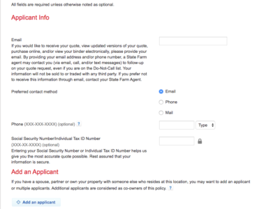 State Farm Home Quote Applicant Information
