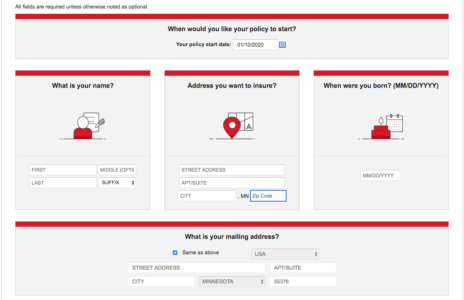 State Farm Home Quote Personal Information