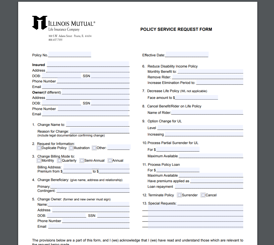 Illinois Mutual Policy Service Request Form