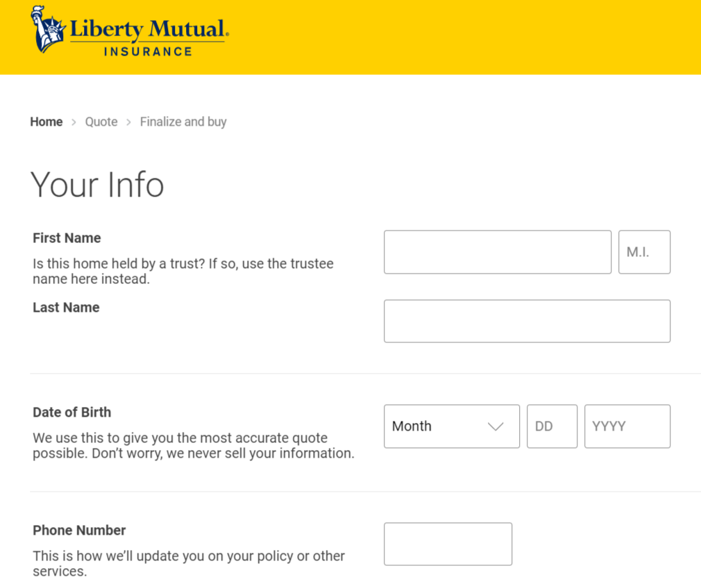 Liberty Mutual Online Quote Instruction Personal Info