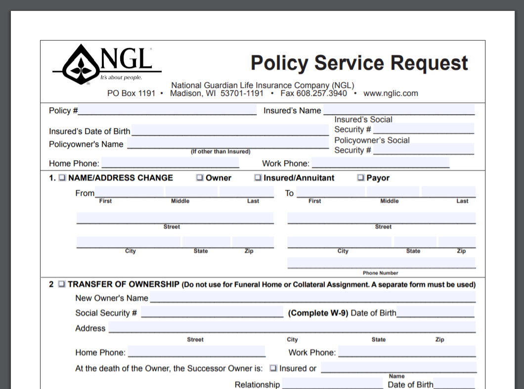 NGL Policy Service Request Form