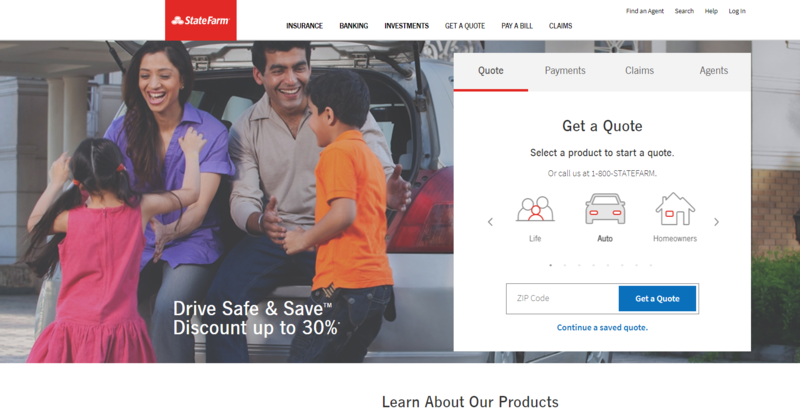 State Farm website homepage